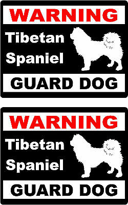 2 warning Tibetan Spaniel guard dog breed car bumper home window vinyl stickers