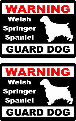2 warning Welsh Springer Spaniel guard dog breed car home window vinyl stickers