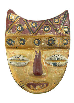 ACROSS THE PUDDLE Pre-Columbian Pottery Muisca Mask with Peaks(S) Reproduction