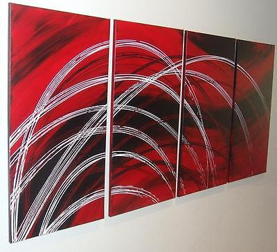RED BLACK WHITE MODERN ABSTRACT ORIGINAL PAINTING by *STEPHANIE 162.4cm x 81.2cm