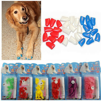 20 x Dog Nail Cover Cap Clips Paw Guard Adhesive Nails Pet Puppy Grooming Pack