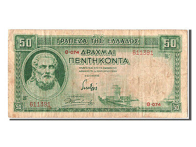 [#302935] Greece, 50 Drachmai, 1939, KM #107a, 1939-01-01, VF(20-25), TH-074