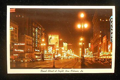 1950s Canal Street at Night Old Cars Taxi Stores Neon Signs New Orleans LA PC