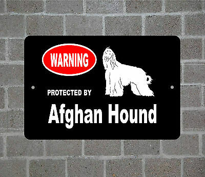 Property protected by Afghan Hound dog breed metal aluminum sign
