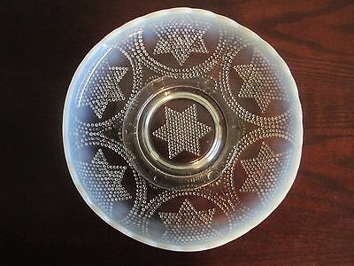 """Six Point STAR HOBNAIL FOOTED GLASS BOWL OPALESCENT Star of David 8"""""""