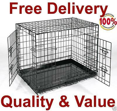 "24 to 54"" 2 Door Folding Dog Pet Cage Crate Kennel House w/DIVIDER"