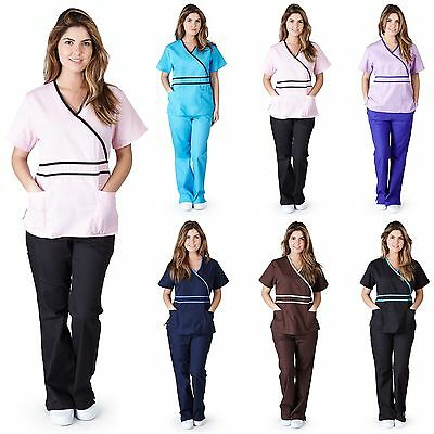 Medical Nurse Scrubs NATURAL UNIFORMS Contrast Mock Set Size XS S M L XL 2XL 3XL