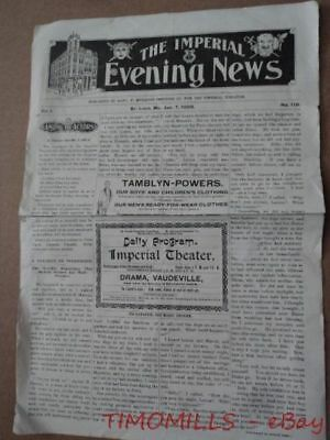 1898 Imperial Theater Evening News Opera House Program Indianapolis Indiana