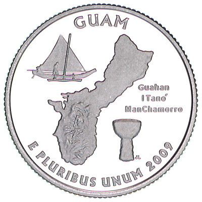 2009 S Territories Quarter Guam Gem Proof Deep Cameo 90% Silver US Coin