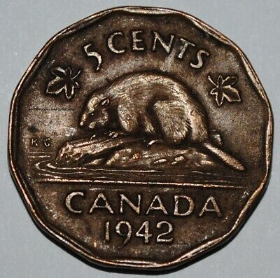 Canada 1942 5 Cents Tombac George VI Canadian Nickel