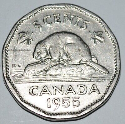 Canada 1955 5 Cents Elizabeth II Canadian Nickel Five Cent