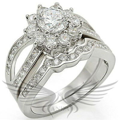 ELEGANT ROUND CUT LAB CREATED RUSSIAN SIM DIAMOND WEDDING RING & BAND 1w008
