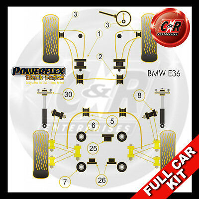 BMW E36 3 Series (90-98) Powerflex Black Complete Bush Kit