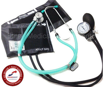 NEW EMI Clear Green Stethoscope & Adult  Aneroid Sphygmomanometer Cuff kit #340