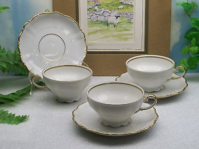 3 Seltmann Weiden Theresia White with Gold Porcelain Cup & Saucer Sets   SLT156