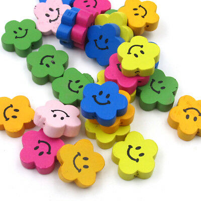 30Pcs Multi-Color Wood Happy Face Flower Shape Beads Finding--Jewelry Beads