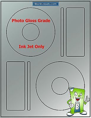 200 PHOTO GLOSSY Ink Jet Labels! - Fits Memorex - 100 Sheets! CD DVD High Gloss