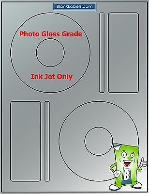 100 PHOTO GLOSSY Ink Jet Labels! - Fits Memorex - 50 Sheets! CD DVD High Gloss