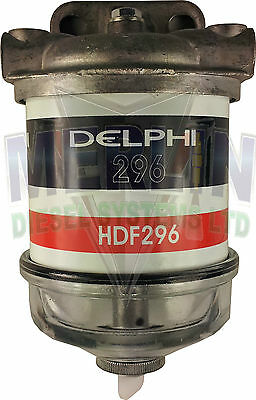 Single Water Separator Assembly Diesel Fuel Filter Glass Bowl Delphi Hdf296