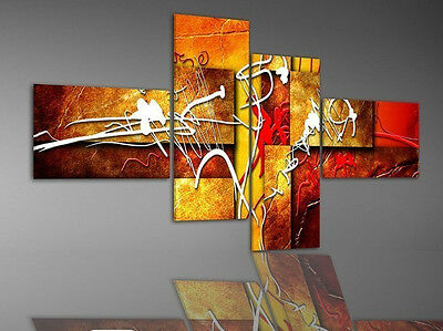 4pc Red MODERN ABSTRACT HUGE WALL ART OIL PAINTING ON CANVAS (No fram)