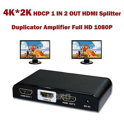 4K*2K 1080P HDMI 1.4V 1 In 2 Out Splitter Extender Duplicator Fr Foxtel Box HDTV