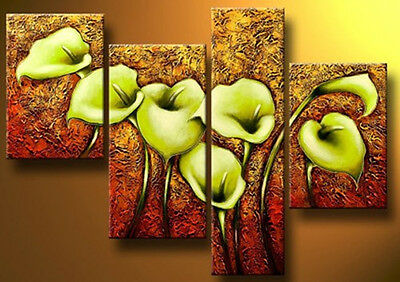 Modern Abstract Large Wall Decor Oil Painting On Art Canvas Flowe 4pc