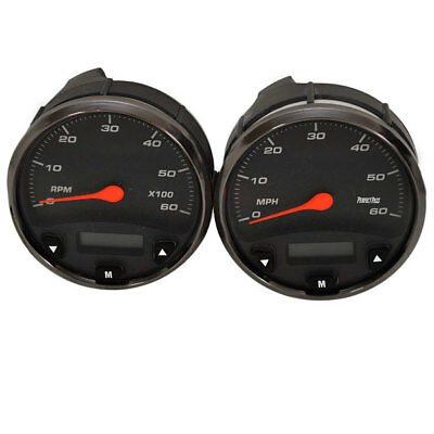 PERFECTPASS 4 1/4 IN PEWTER MULTI FUNCTION BOAT TACHO /SPEEDO GAUGES (SET OF 2