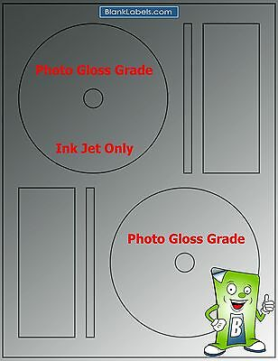 100 PHOTO GLOSSY Ink Jet Labels! Fits Full Memorex 50 Sheets! CD DVD High Gloss