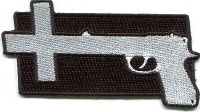 NINE INCH NAILS gun cross EMBROIDERED IRON-ON PATCH **FREE SHIPPING** -c p-2975