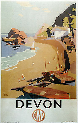 """DEVON ""    Vintage Art Deco Railway/Travel Poster A1,A2,A3,A4 Sizes"