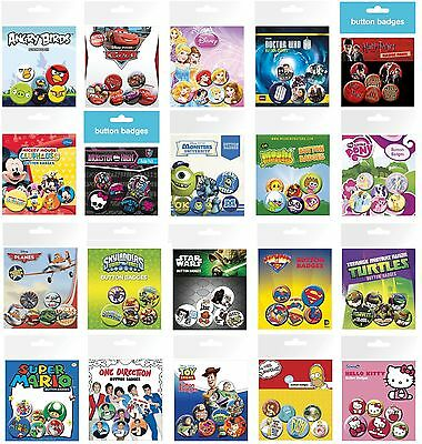 BUTTON BADGES - Large Range of Character Badges - Pack of 6 (Official)
