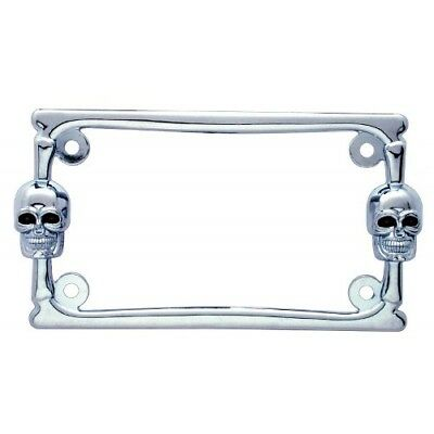 Chrome Metal Skull Motorcycle Bike License Plate Tag Frame Holder / Harley Honda