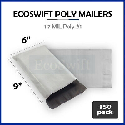 150 6x9 White Poly Mailers Shipping Envelopes Self Sealing Bags 1.7 MIL 6 x 9