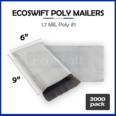 3000 6x9 White Poly Mailers Shipping Envelopes Self Sealing Bags 1.7 MIL 6 x 9
