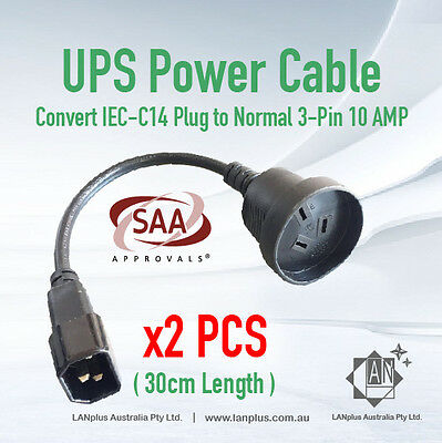 2x 30cm UPS Power Cord Extension Lead Cable IEC Male to 3-Pin AU Female Socket