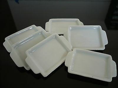 Set of 6 White Ceramic Tray Dollhouse Miniatures Food Bakery Supply Deco