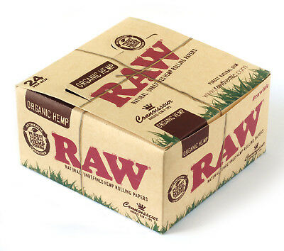 1 box RAW CONNOISSEUR King Size Unrefined Organic Hemp Rolling papers + TIPS