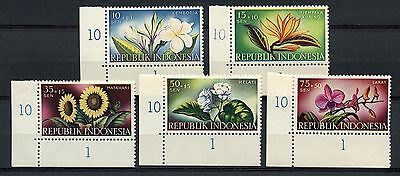 Indonesia 1957 SG#753-7 Flowers Charity Fund MNH Set #A60095
