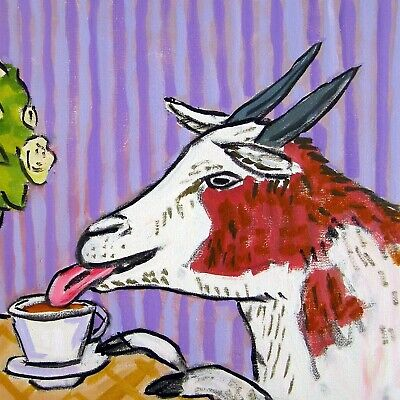 "Goat art, goat prints, 11x14"" goat art print coffee signed by artist, goat gifts"