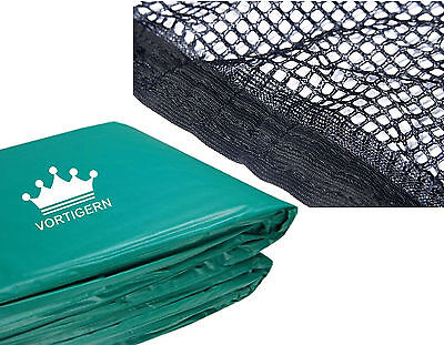 Set of Green Pads Padding & Safety Enclosure Net Trampoline  for 8 10 12 13 ft