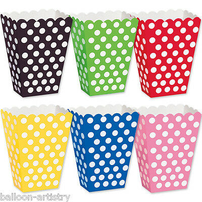 8 Polka Dot Spot Spotty Style Party Supplies Paper Loot Treat Favour Bags Boxes