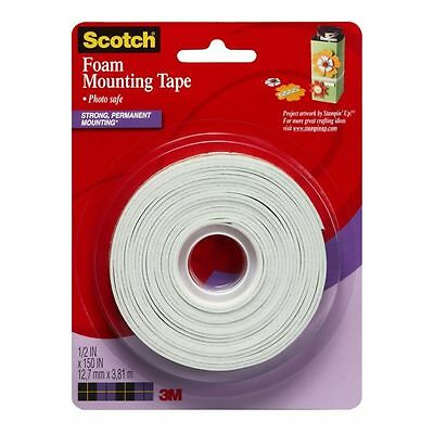 """3M Scotch Foam Mounting Tape 1/2"""" x 150"""" double-sided adhesive photo safe"""