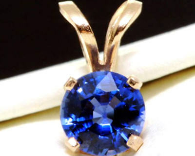 1.00ct Genuine Natural Blue Sapphire Solitaire 14K Solid Yellow Gold Pendant