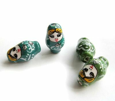 4Pcs Hand Painted Ceramics Porcelain Lovely Russia Dolls Beads Finding-26mm*15mm