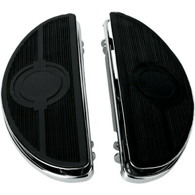 Drag Chrome Half-Moon Floorboards w/Vibration Insert Harley Touring Softail FLD