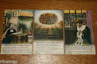 Vintage Postcard: 3 Bamforth Song Cards No.4927, The Kilty Lads Come Home, WW1