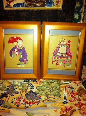 Pair Of Chinese Paper Cut Out Pictures Framed. Very Nice! Vintage