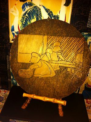 109 Year Old Antique Wooden Dutch Girls Plate