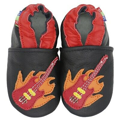 carozoo guitar black 5-6y soft sole leather kids shoes