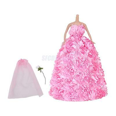 Wedding Party Pink Layered Flower Dress Clothes Gown For Barbie Doll Princess